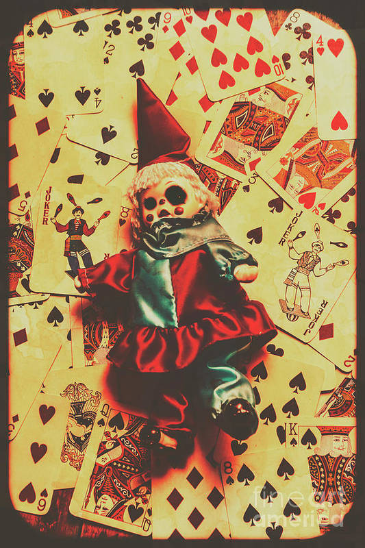 Evil Clown Doll On Playing Cards Poster by Jorgo Photography - Wall ...
