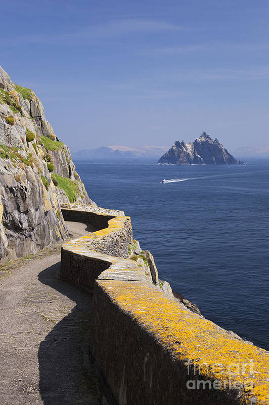 Fishing Poster featuring the photograph Fishing Boat Approaching Skellig Michael, County Kerry, In Spring Sunshine, Ireland by Peter Barritt