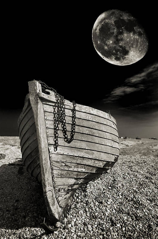Moody Poster featuring the photograph Fishing Boat Graveyard 3 by Meirion Matthias