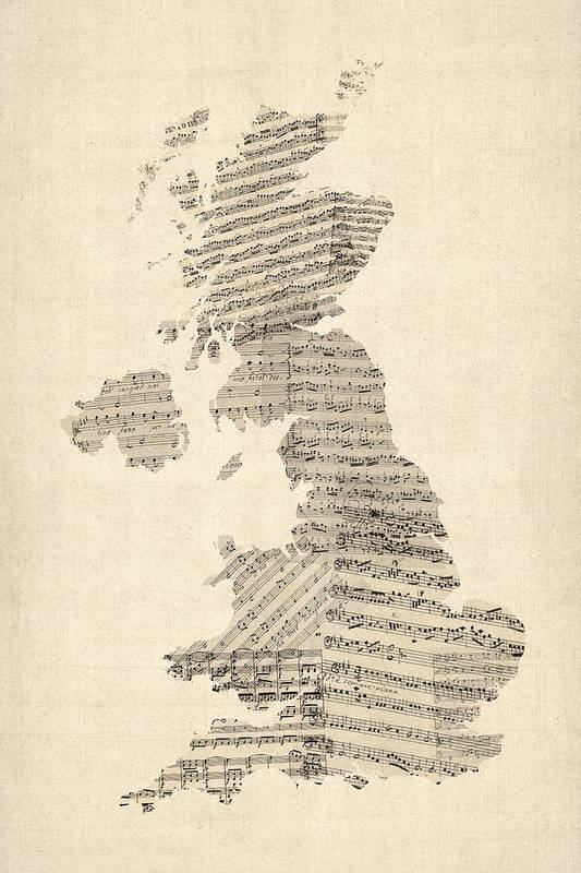 United Kingdom Map Poster featuring the digital art Great Britain Uk Old Sheet Music Map by Michael Tompsett