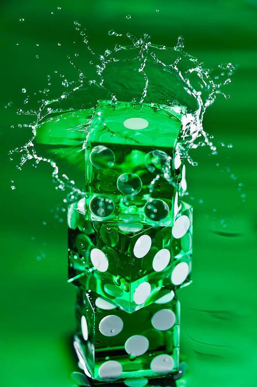 Dice Poster featuring the photograph Green Dice Splash by Steve Gadomski