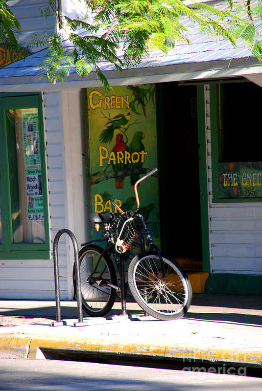 Key West Poster featuring the photograph Green Parrot Bar Key West by Susanne Van Hulst