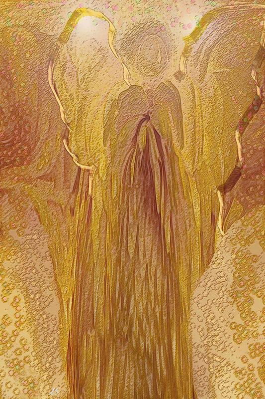 Digital Art Poster featuring the digital art Guardian Angel by Linda Sannuti