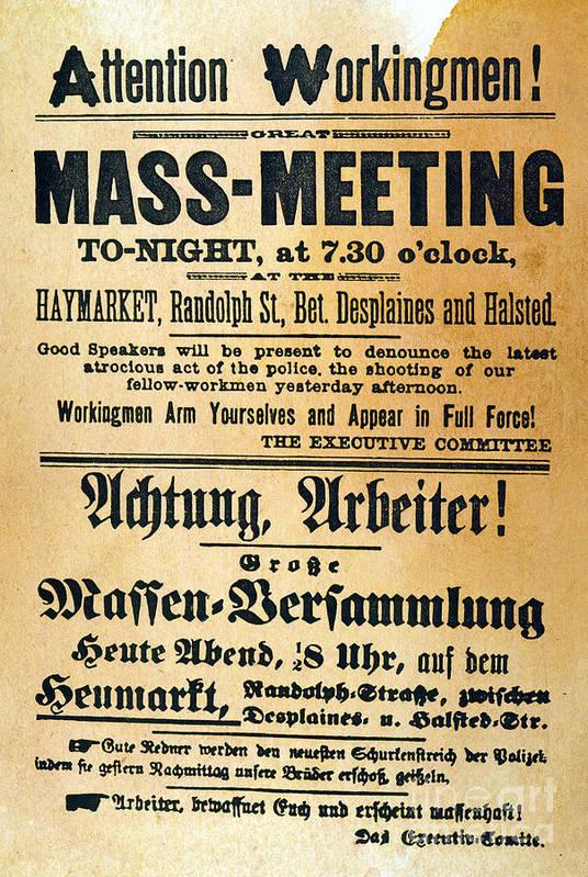 1886 Poster featuring the photograph Haymarket Handbill, 1886 by Granger