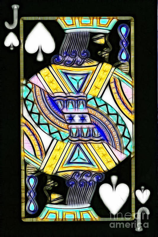 Card Poster featuring the photograph Jack Of Spades - V2 by Wingsdomain Art and Photography
