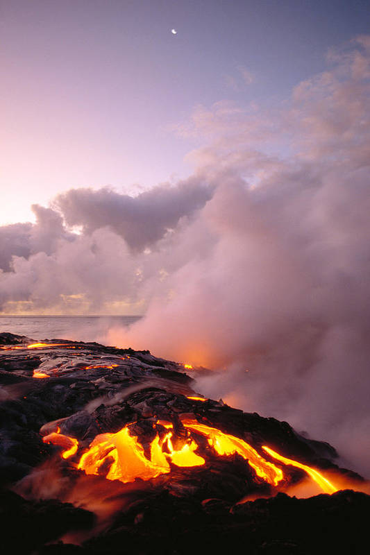 Active Poster featuring the photograph Lava Flows At Sunrise by Peter French - Printscapes