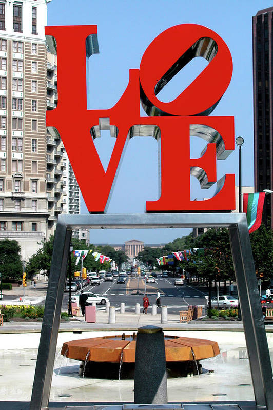 Red Poster featuring the sculpture Love Sculpture In Philadelphia by Carl Purcell