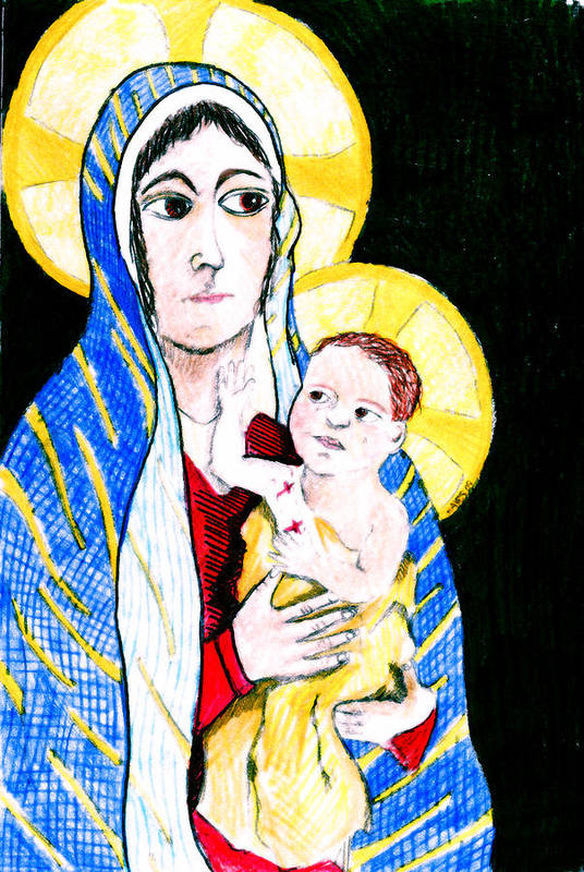 Christ Poster featuring the drawing Madonna And Child by Jame Hayes