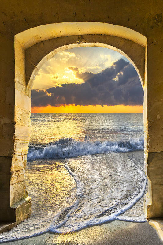 Clouds Poster featuring the photograph Ocean View by Debra and Dave Vanderlaan