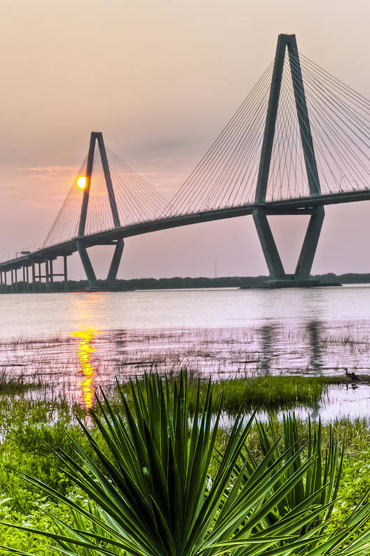 Arch Poster featuring the photograph Palm Harbor Sunset - Charleston Sc by Drew Castelhano