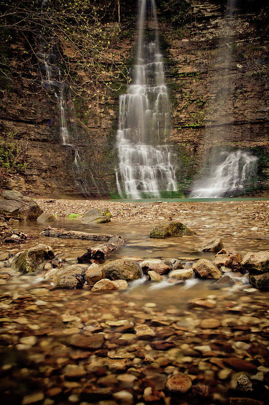 Landscape Poster featuring the photograph Rocks And Waterfalls by Iris Greenwell