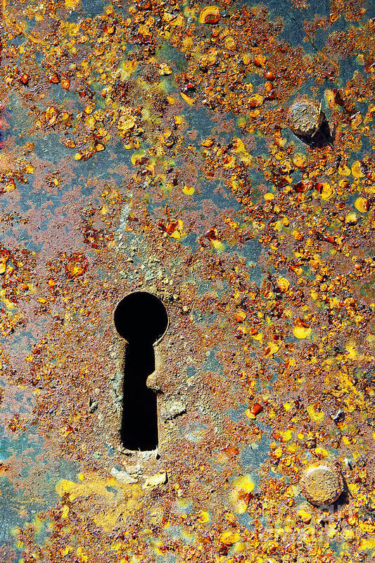 Abandoned Poster featuring the photograph Rusty Key-hole by Carlos Caetano