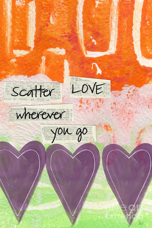 Abstract Poster featuring the mixed media Scatter Love by Linda Woods