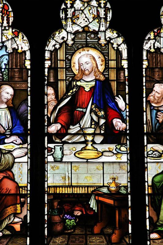 Stained Poster featuring the photograph Stained Glass Window Last Supper Saint Giles Cathedral Edinburgh Scotland by Christine Till
