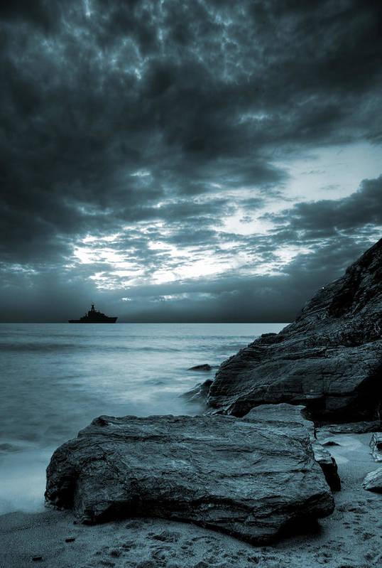 Bay Poster featuring the photograph Stormy Ocean by Jaroslaw Grudzinski