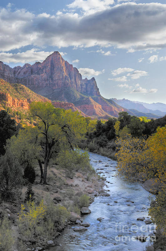 Hdr Poster featuring the photograph Sunset On The Watchman by Sandra Bronstein