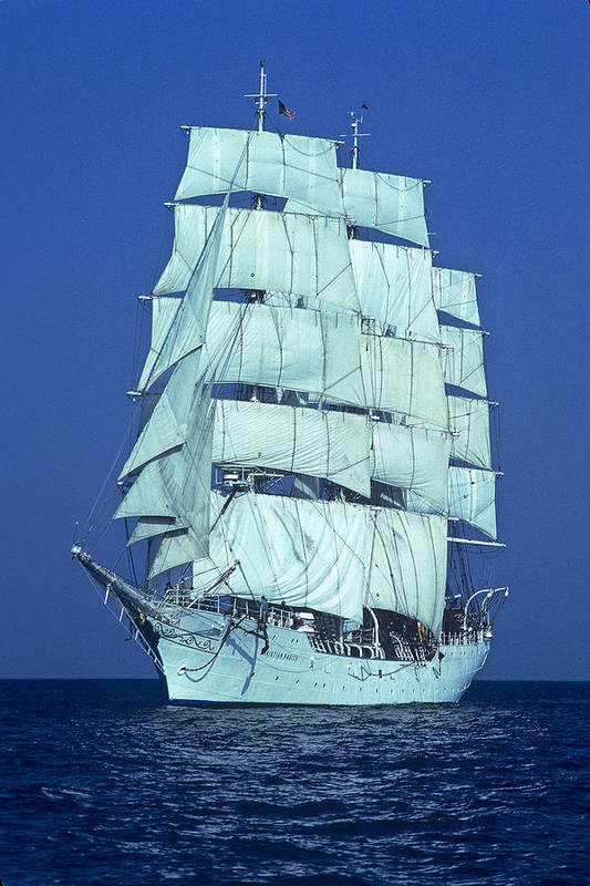 Tall Ships Poster featuring the photograph Tall Ship At Sea by Kenneth Garrett