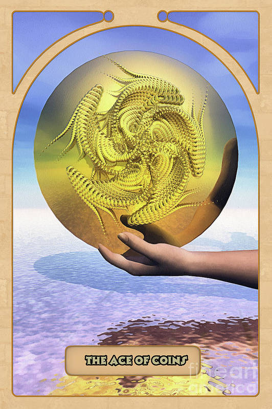 Magic Poster featuring the digital art The Ace Of Coins by John Edwards