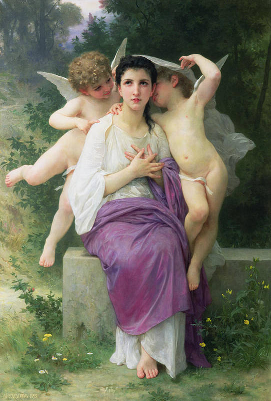 The Poster featuring the painting The Hearts Awakening by William Adolphe Bouguereau