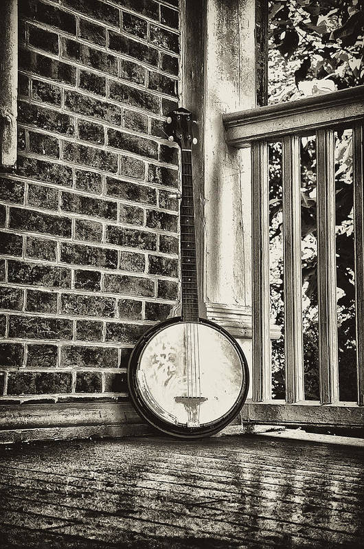 Banjo Poster featuring the photograph The Lonely Banjo by Bill Cannon
