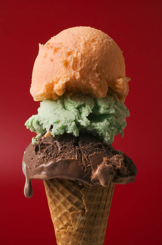 Three Poster featuring the photograph Three Scoop Ice Cream On Red Background by Garry Gay