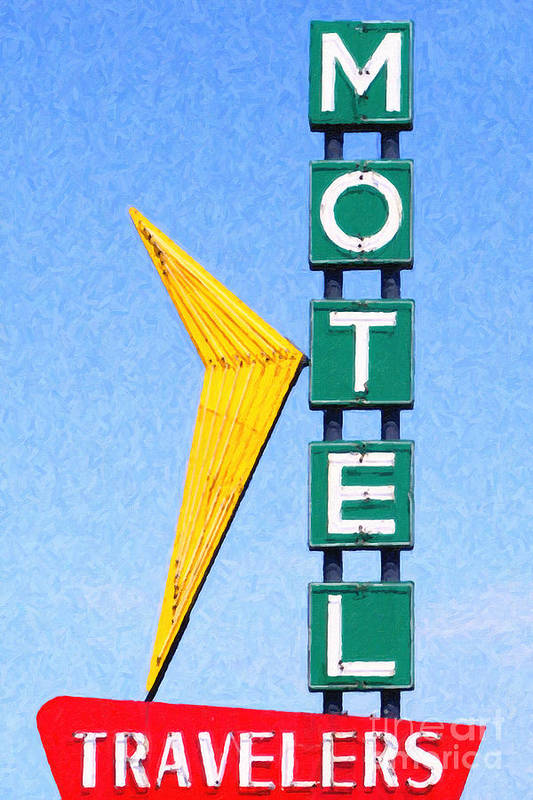 Travelers Motel Poster featuring the photograph Travelers Motel Tulsa Oklahoma by Wingsdomain Art and Photography