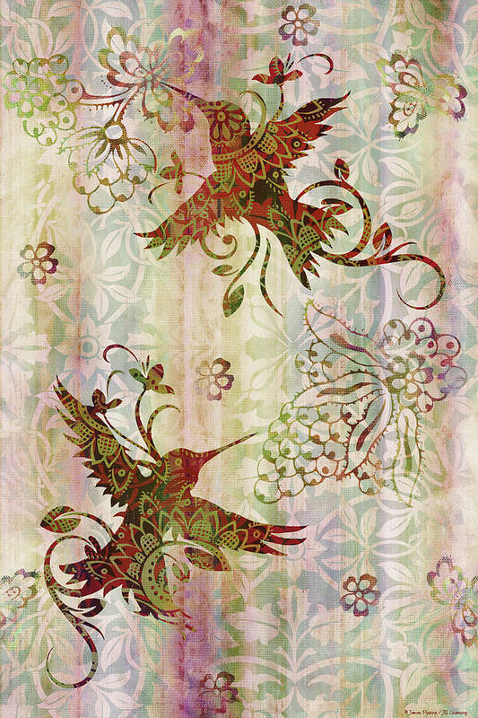 Flowers Poster featuring the painting Victorian Humming Bird Pink by JQ Licensing