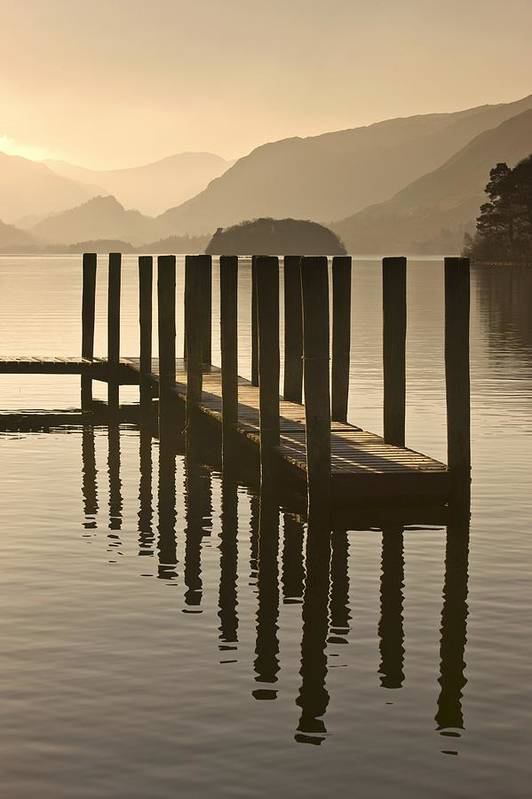 Calm Poster featuring the photograph Wooden Dock In The Lake At Sunset by John Short