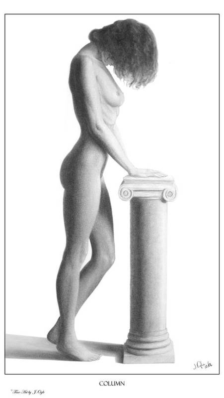 Print Poster featuring the drawing Column by Joseph Ogle