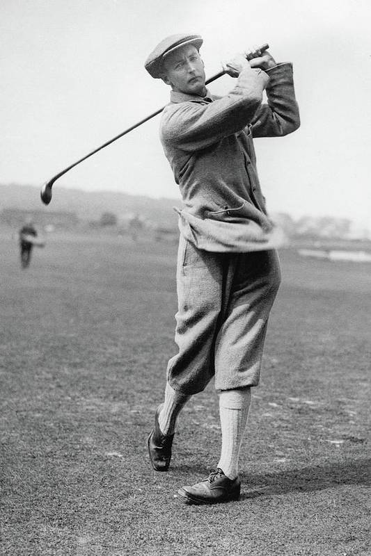 Exterior Poster featuring the photograph British Golfer Sir Ernest Holderness Swinging by Artist Unknown