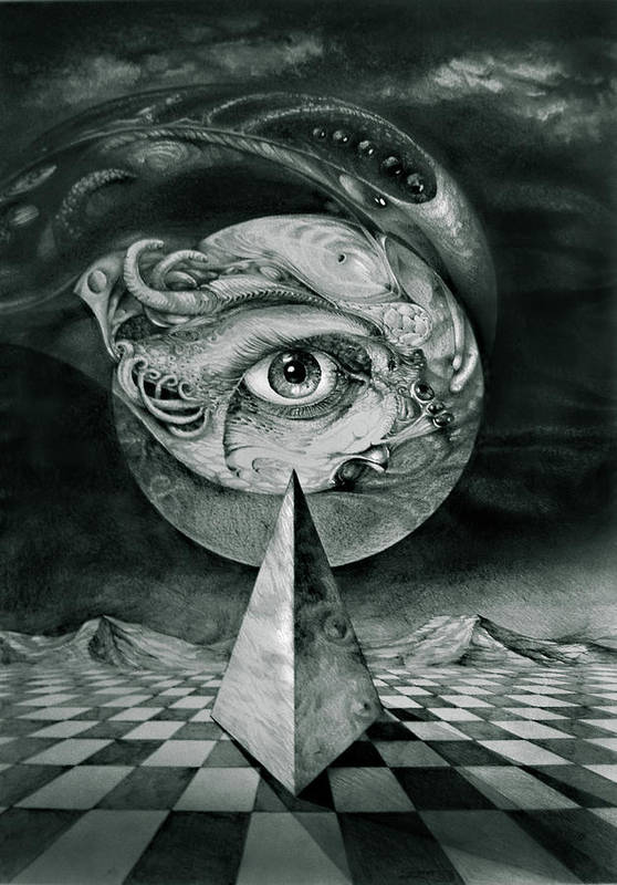 otto Rapp Surrealism Poster featuring the drawing Eye Of The Dark Star by Otto Rapp