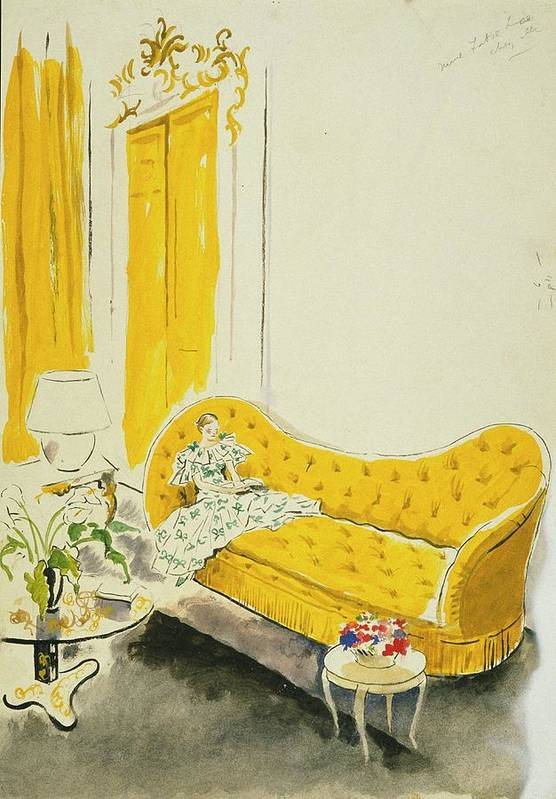 Fashion Poster featuring the digital art Madame Luce On A Yellow Sofa by Cecil Beaton