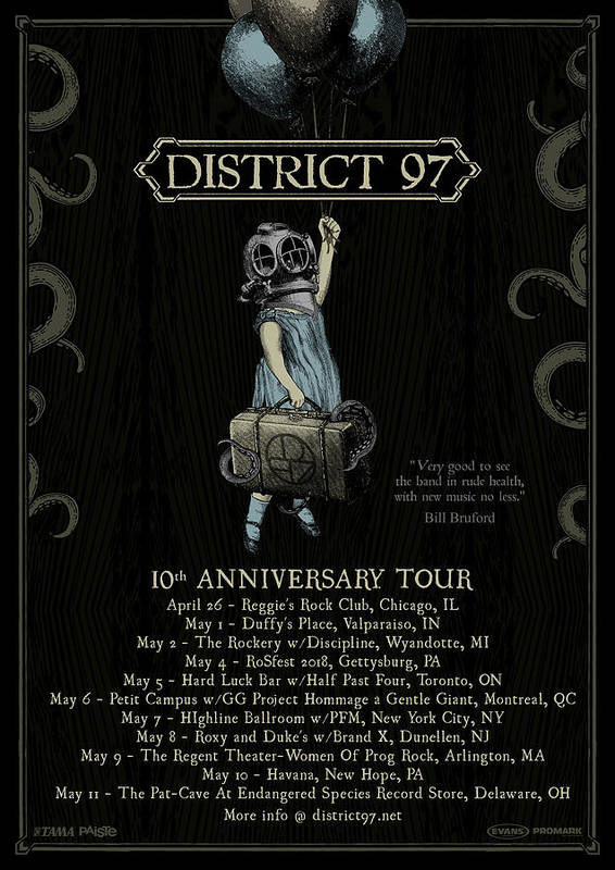Poster featuring the digital art 10th Anniversary Tour by District 97