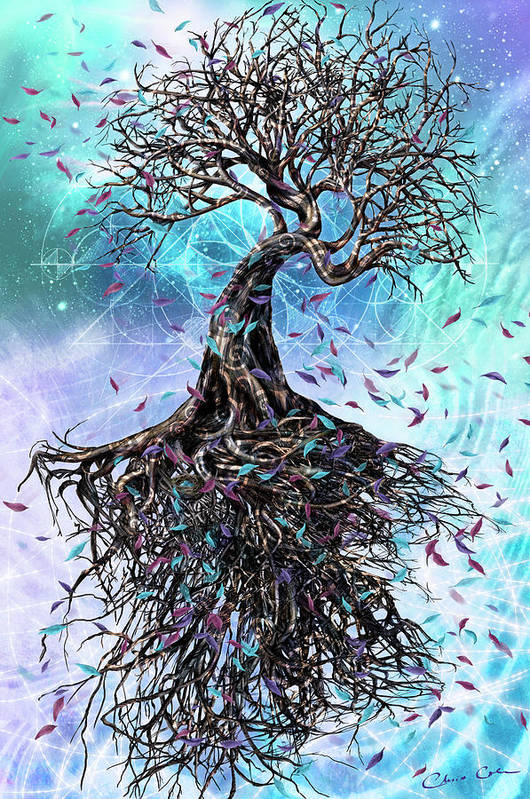 Tree Poster featuring the mixed media At the Root of All Things by Chris Cole
