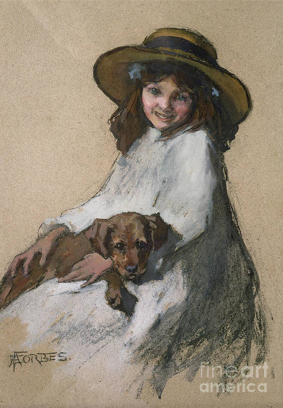 Female Poster featuring the painting Friends by Elizabeth Adela Stanhope Forbes
