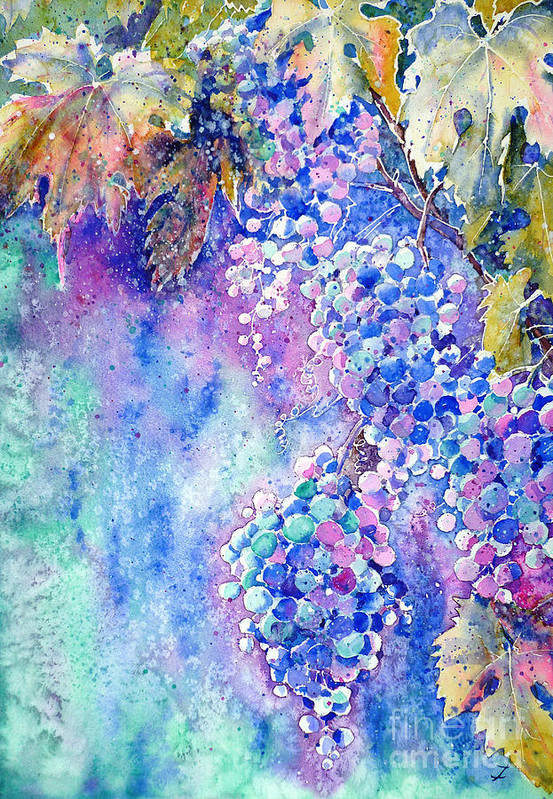 Grapes Poster featuring the painting Nectar Of Nature by Zaira Dzhaubaeva