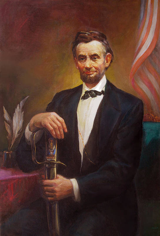 Abraham Poster featuring the painting President Abraham Lincoln by Svitozar Nenyuk