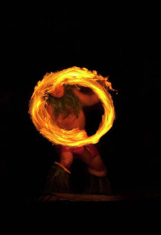 Samoan Fire Knife Dancer Poster featuring the photograph Ring Of Fire by Mike Dawson