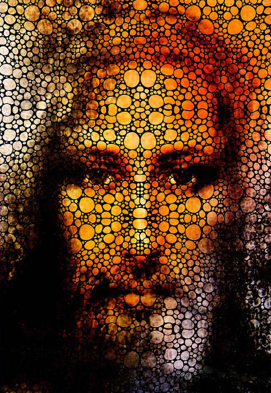 Jesus Poster featuring the painting Savior - Stone Rock'd Jesus Art By Sharon Cummings by Sharon Cummings