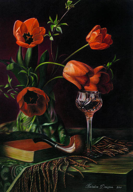 Still Life Poster featuring the drawing Still Life With Tulips - Drawing by Natasha Denger