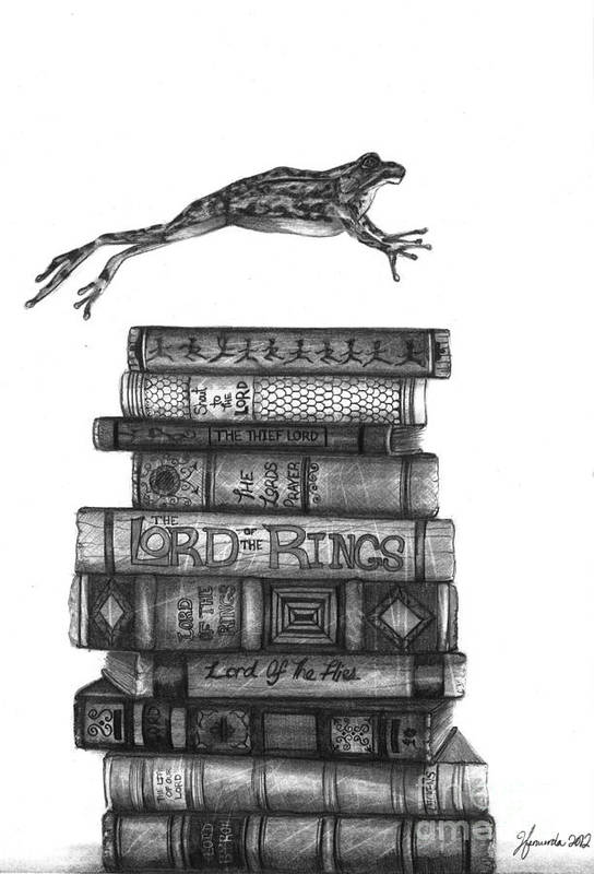 Frog Poster featuring the drawing Ten Lords A Leaping by J Ferwerda