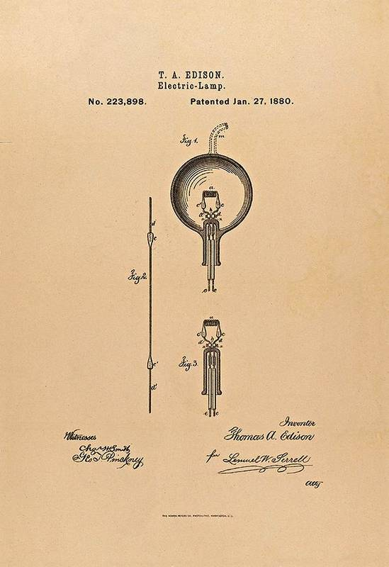 Light Bulb Poster featuring the photograph Thomas Edison Patent Application For The Light Bulb by Movie Poster Prints