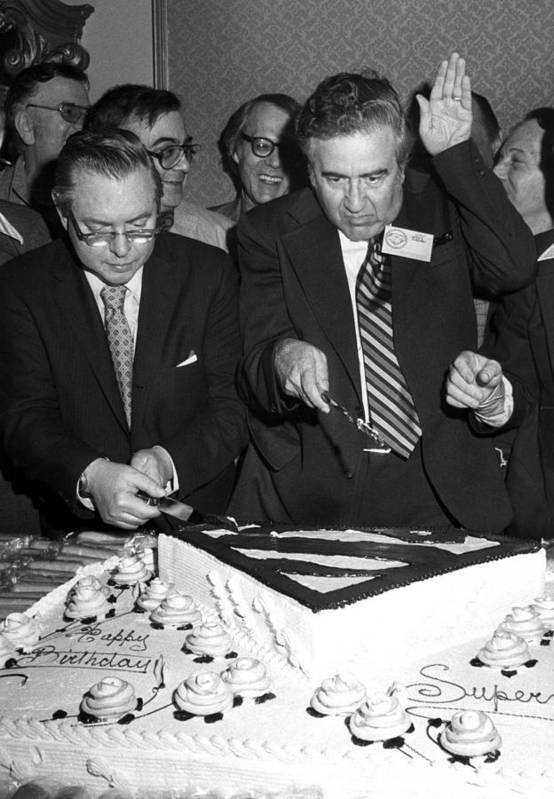 Birthday Cake Poster featuring the photograph Joe Shuster, With Jerry Siegel by Everett