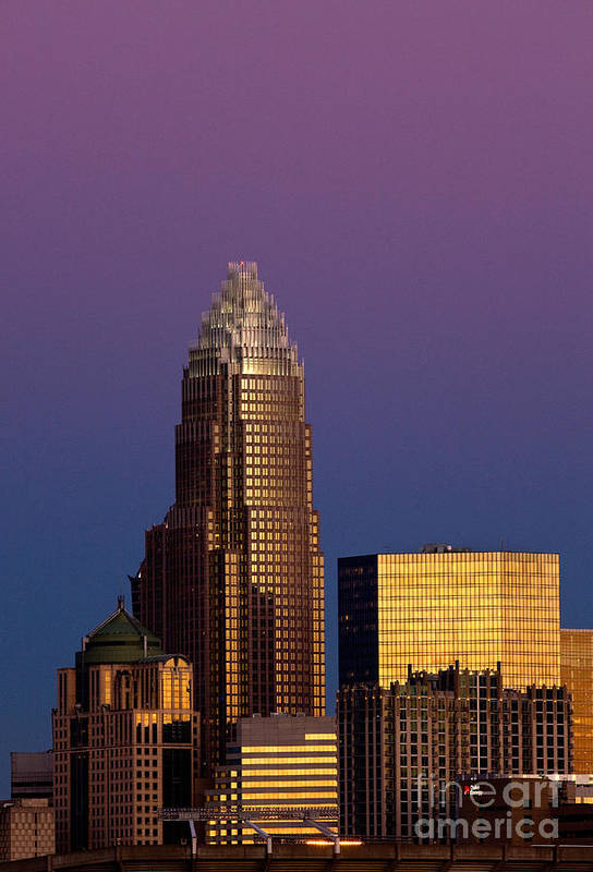 Charlotte Poster featuring the photograph Purple Charlotte Skyline by Patrick Schneider