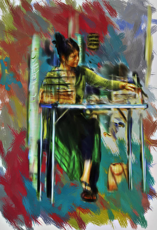 Digital Art Poster featuring the digital art Sidewalk Sales by Dale Stillman