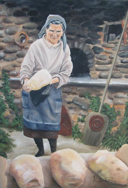 Woman Poster featuring the painting Woman Baking Bread by Anna Poelstra Traga