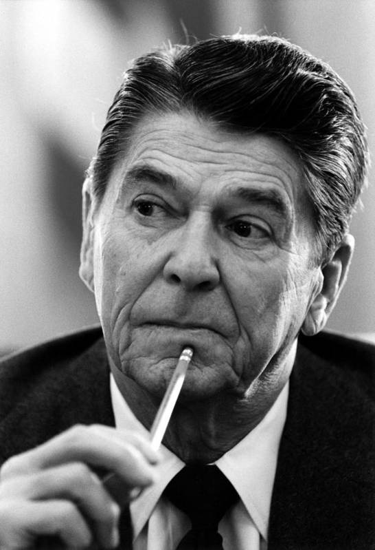 Gop Poster featuring the photograph President Ronald Reagan by War Is Hell Store