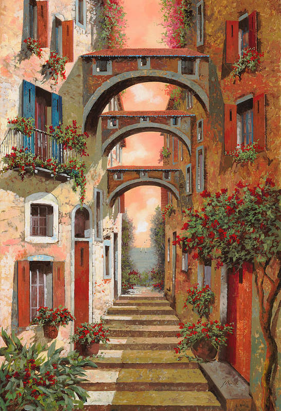 Arches Poster featuring the painting Archetti In Rosso by Guido Borelli