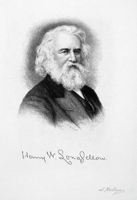 19th Century Poster featuring the drawing Henry Wadsworth Longfellow by Granger