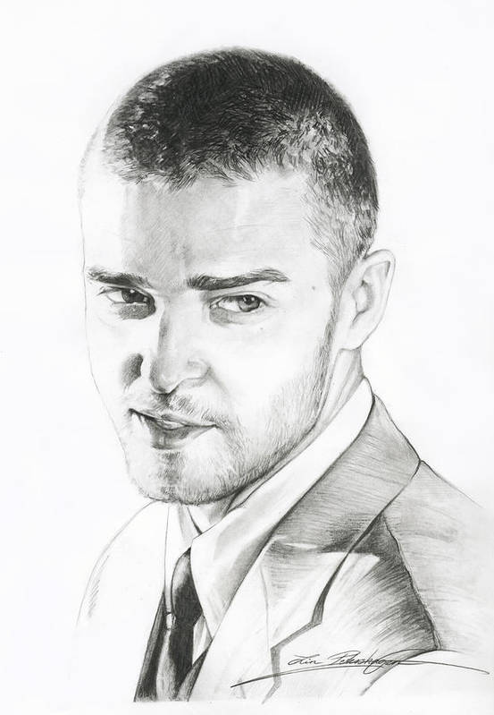 Lin Petershagen Poster featuring the drawing Justin Timberlake Drawing by Lin Petershagen